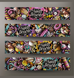 Cartoon cute doodles desserts horizontal banners vector