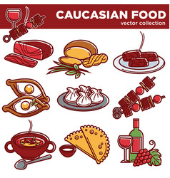 Caucasian food dishes traditional cuisine vector