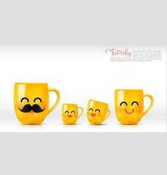 ceramic yellow mug cartoon happy and smile father vector image