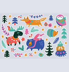 christmas forest animal sticker set vector image