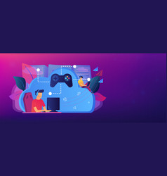 Cloud gaming header banner vector