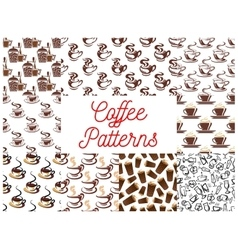 Coffee seamless patterns vector