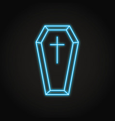 Coffin with cross icon in neon line style vector