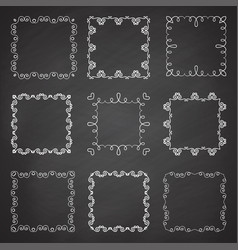 collection of ornamental frames hand drawn square vector image