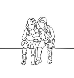 continuous one line drawing two girls are vector image