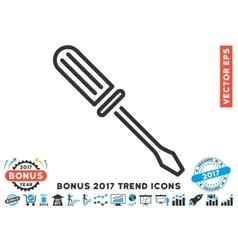 Contour Screwdriver Flat Icon With 2017 Bonus vector