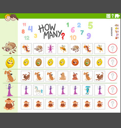 Counting game for kids with funny characters vector