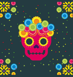 Day of the dead skull with floral ornament dark vector