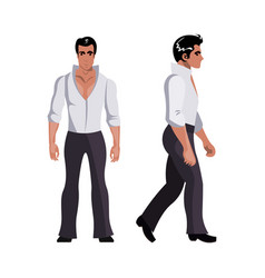 disco dancer man character in white suit vector image
