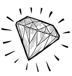 Doodle gem diamond luxury vector