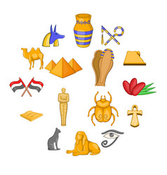 egypt travel icons set cartoon style vector image