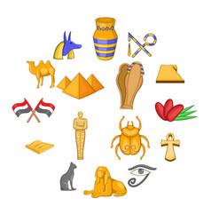 egypt travel icons set cartoon style vector image