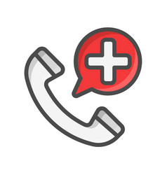 Emergency call filled outline icon medicine and vector