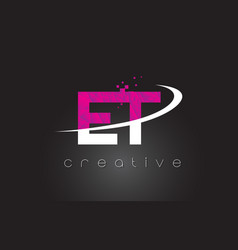 Et e t creative letters design with white pink vector