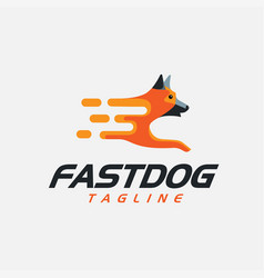 Fast dog logo icon template vector