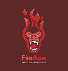 Fire red hot ape monkey angry mascot logo vector