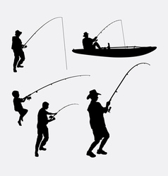 Fishing people silhouette vector