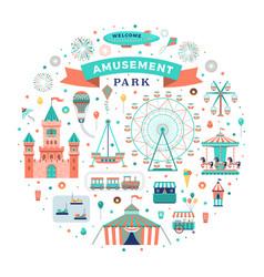 flat amusement park set vector image
