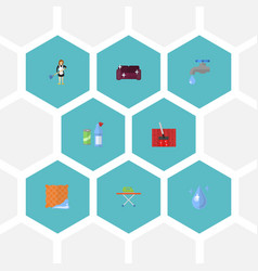 flat icons housewife aqua sofa and other vector image