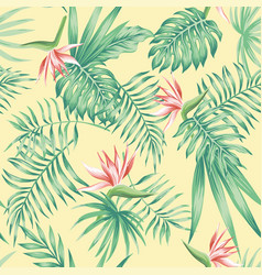flowers tropical leaves beach background pattern vector image