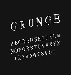 font grunge letters and numbers vector image