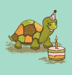 fun turtle cartoon circus tropical animal hand dra vector image
