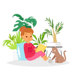 girl reading book and cat home pet vector image