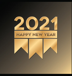 Golden happy new year 2021 luxury design vector