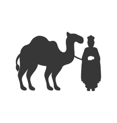Gray silhouette wise man with camel icon flat vector