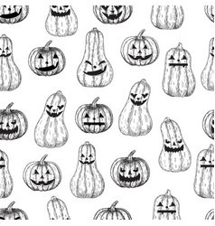 halloween seamless background pumpkin with vector image