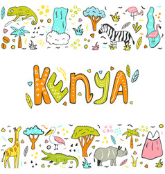 hand drawn abstract design kenya with landmarks vector image