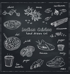hand drawn set indian cuisine vector image