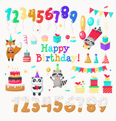 happy birthday hand drawn icon set vector image