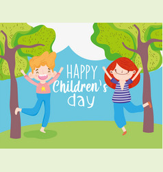 happy children day cute little boy and girl field vector image
