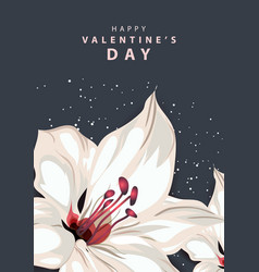 happy valentines day background with lily flower vector image