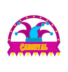 Harlequin hat on a carnival label vector