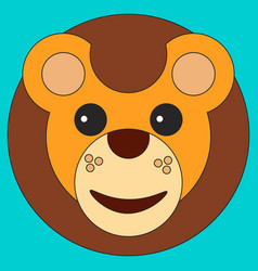 head of a lion in cartoon flat style vector image