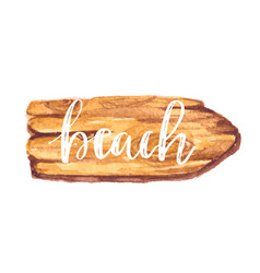 Hello summer hand lettering on wooden background vector