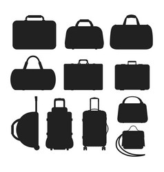 Journey suitcase travel bag silhouette vector