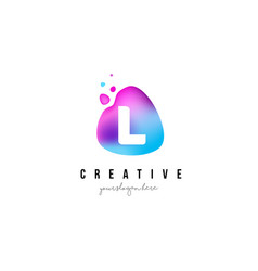 L letter dots logo design with oval shape vector