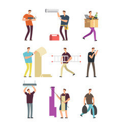 man in household activities repair in apartment vector image