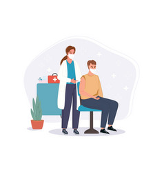 medical doctor in clinic giving senior man vector image