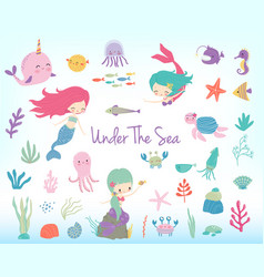 Mermaids sea animals and sea plants vector