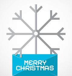 Merry Christmas Paper Title with Snow Flake vector image