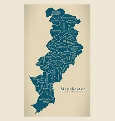 Modern city map - manchester city of england with vector