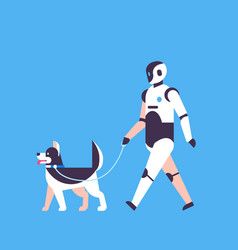 modern robot walking dog house helper bot vector image