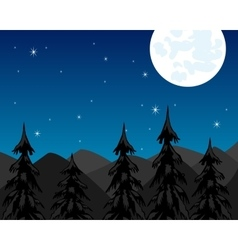 Night in mountain and moon vector image