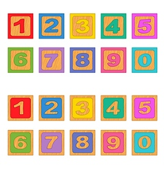 Numbers wooden blocks vector