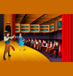 People performing on a stage vector