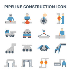 Pipeline construction icon vector